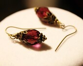 Maroon Crystal Earrings - Maroon Crystal Faceted Briolettes with Antique Bronze Brass Bead Caps