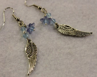 Silver and Blue Wing Earrings - Tibetan Silver Wing Charms with Blue Lucite Flowers and Blue Swarovski Crystals on Silver Earring Hooks