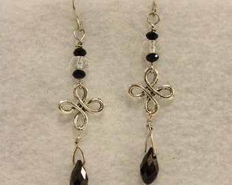 Black and Silver Dangly Earrings - Black Faceted Briolettes and Tibetan Silver Swirly Connectors Dangling on Silver Toned Earring Hooks