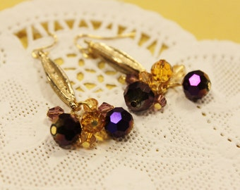 Gold and Purple Dangle Earrings - Gold Antique Components with Gold and Purple Crystal Rondelles Fireworks Earrings