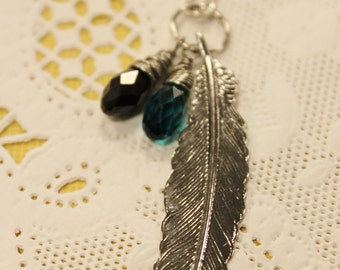 Silver Feather Necklace - Silver Feather Charm with Crystal Turquoise and Black Glass Wire Wrapped Briolettes on Silver Chain
