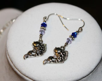 Silver Koi Fish Earrings - Silver Toned Fish Charms with Light and Dark Blue Swarovski Crystals - The Last Airbender Earrings
