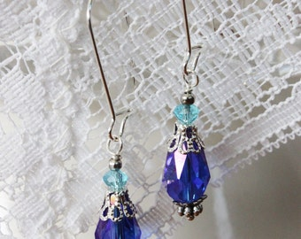 Blue Crystal Briolette Earrings - Beautiful Blue Crystal Briolettes and Light Blue Mini Rondelles on Silver Toned Kidney Wires