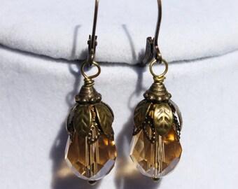 Bronze Pumpkin Earrings - The Forgotten Pumpkins - Light Orange Crystal Briolettes and Antique Bronze Bead Caps