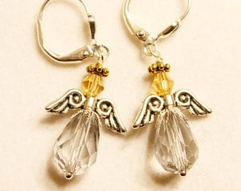 Silver Angel Earrings - Clear Crystal Briolettes with Silver Toned Wings and Gold Toned Swarovski Crystals with a Gold Toned Halo
