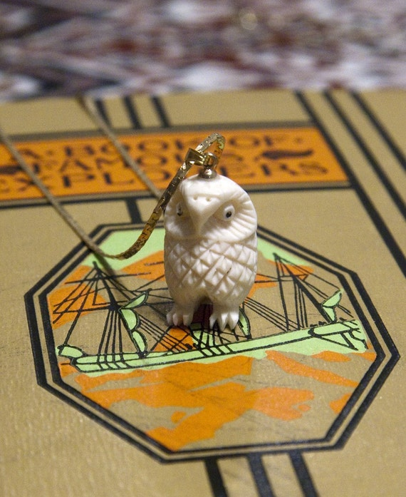 Vintage Carved Ivory Owl Necklace - Golden Chain Included