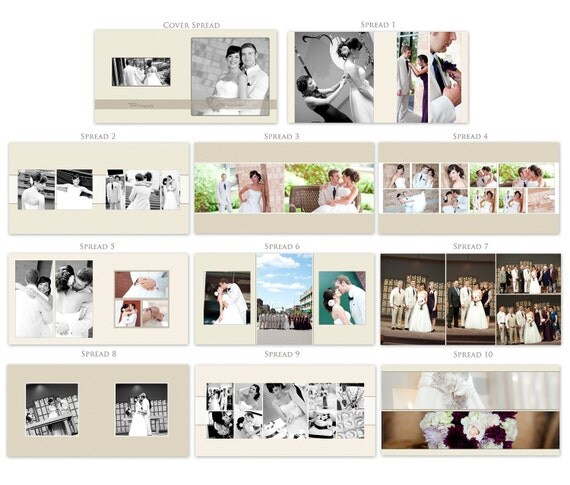 "QUICK SALE 10x10 Square Album Template ""All About Chevron"" - 20 Pages - 10 Spreads WHCC, Bay Photo Wedding Album"