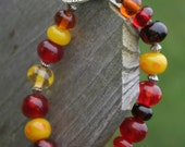 Ready for Fall Lampworking Beaded Bracelet - Yellow, Oranges, Reds