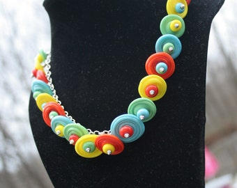 Beautiful Bright Bold Handcrafted Disc Lampworking Sterling Silver Necklace