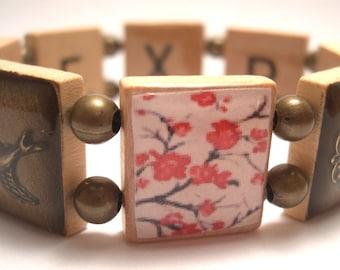 Cherry Blossom Scrabble Bracelet