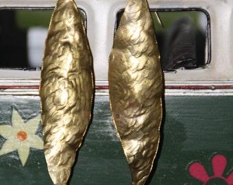 Hammered Leaf Brass Earrings