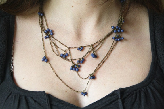 Delicate Blue Bead Gold Tone Necklace