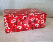 Red Floral Candy Box White and Black Flowers 1940s