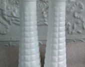Milk Glass Vases Pair Tall Quilted Bud Vase