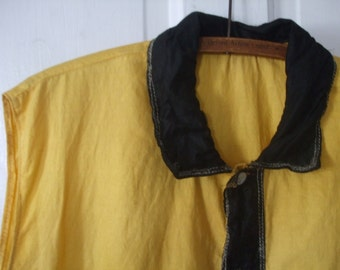 Yellow and Black Sleeveless Top Black Cape Theatrical Garb Play Dress Up