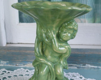 Vintage Handmade 1970s Cherub and Shell Pedestal Dish ON SALE