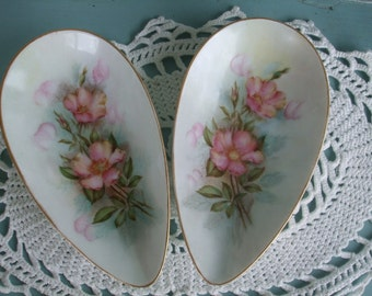 China Dish Roses Set of 2 Multi Flora Rose Teardrop Shape ON SALE