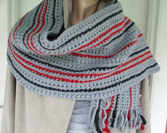 Knitted Scarf for Men Gray, Red, and Black Bold