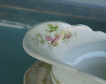 Gravy Boat Underplate Johnson Brothers White Ironstone Floral SALE 50% OFF