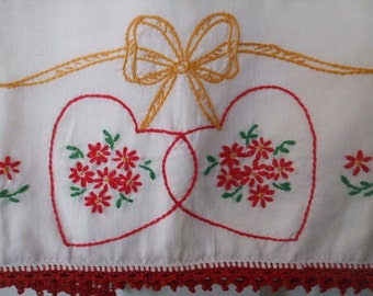 Embroidered Pillowcases Hearts and Flowers Crocheted Edge Red Valentine's Day