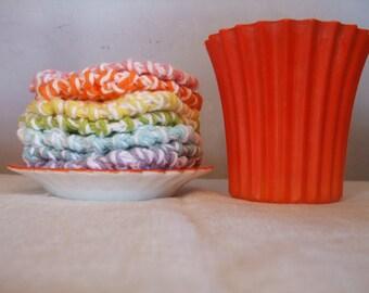 Orange Flower Pot and Saucer Vintage