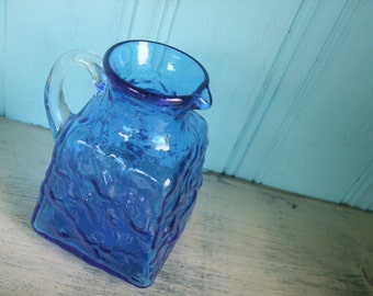 Blue Glass Pitcher Hand Blown Creamer Vase