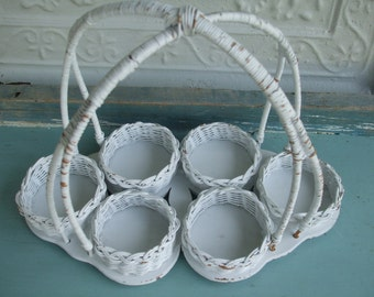 Drinking Glasses Caddy for Six Glasses Wicker