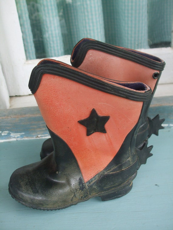 Cowboy Boots Childrens Red Black Stars Spurs