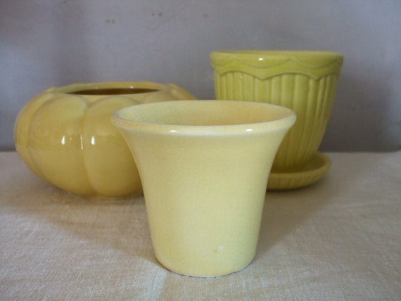 Yellow Flower Pot Vintage