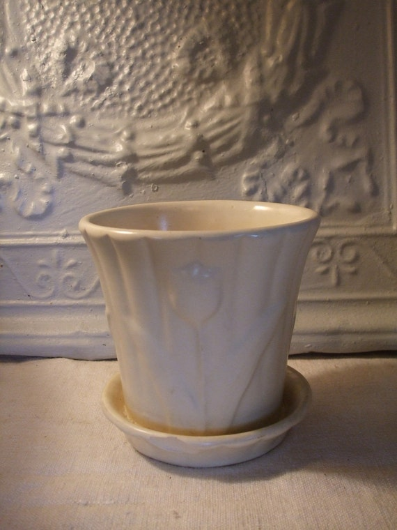 Flower Pot and Saucer McCoy White Vintage
