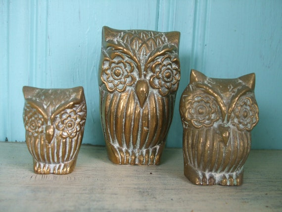 Brass Owls Set of Three Figurines