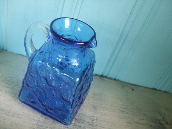Blue Glass Pitcher Hand Blown Creamer Vase
