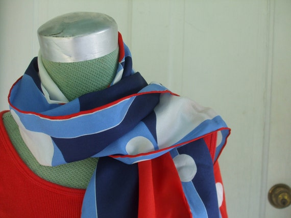 Vera Neumann Nautical Scarf Red White and Blue Vintage