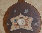 Primitive Folk Art Cutting Board Treenware Hand Painted with Sheep, Crow, Star, American Flag