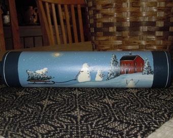 Winter Snowman Folk Art Hand Painted Wooden Rolling Pin