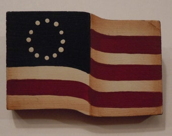 Primitive Folk Art Hand Painted Wooden Button Pin of the American Flag