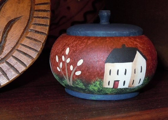Primitive Folk Art Pumpkin Box with Houses and Trees Hand Painted All Around