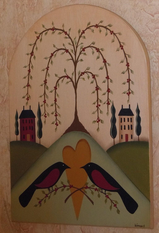 Primitive Folk Art Tree Of Life Birds Heart Houses Hand