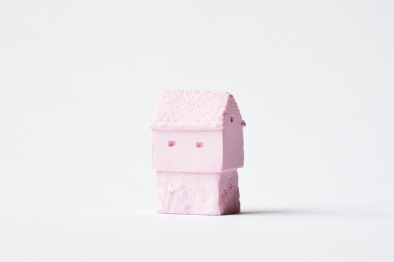 Faroe Islands Architecture - Ceramic clay house by Artisanie Europe - spring colors pastel pink easter decor modern wedding favors