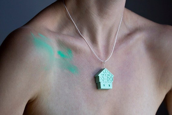 SALE necklace - green unglazed porcelain sterling silver little clay house artisan jewelry