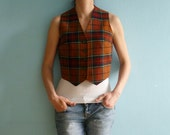 Vintage woolen equestrian vest The Red Rum Check made in Scotland by The Edinburgh Woollen Mill