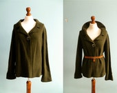 Vintage forest green cardigan sweater / wool wollen / slouchy / medium large