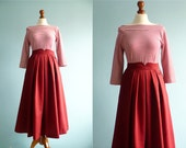 Vintage maxi long skirt / maroon red  / high waist yoke / small