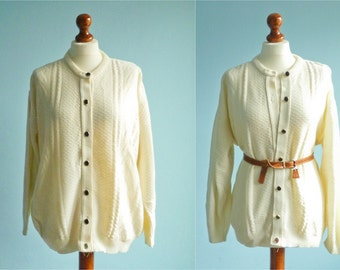 Vintage Womens Cardigan Sweater / Cream White / Buttoned Up Down / Slouchy Loose / medium large