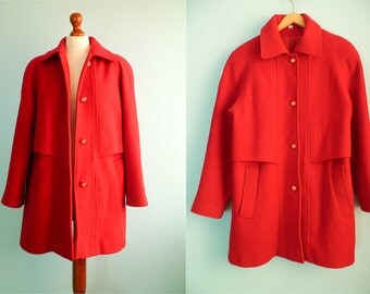 Vintage wool coat jacket / bright red / a line / medium