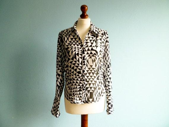 Vintage 80s secretary blouse / black and white / bold geometric print / small medium