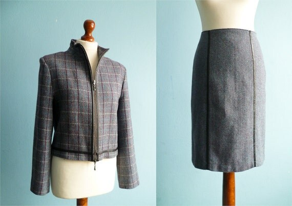 Vintage two piece suit / skirt suit / pencil skirt crop jacket / plaid / grey blue / 90s / medium