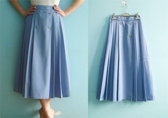 RESERVED for Mimi / Vintage pastel blue skirt  / pleated / highwaisted / extra small