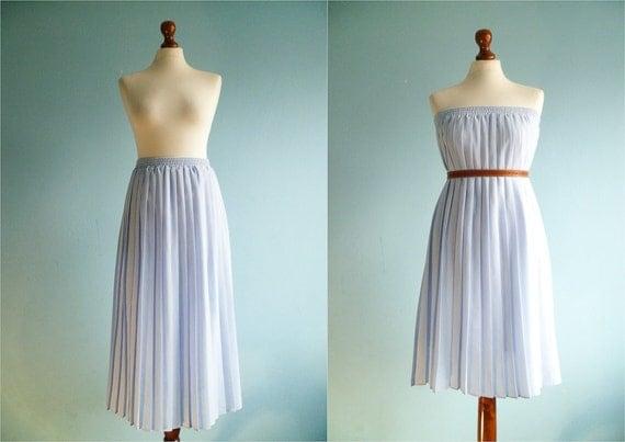 Vintage blue pleat skirt / long / medium large