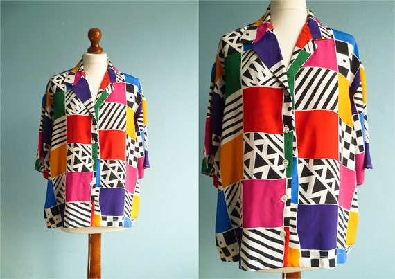 Vintage 80s shirt blouse / multicolor geometric pattern / short sleeves / medium large size plus